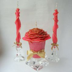 Fairytale Wedding Unity Candle Set You Choose Color Sparkle Rose Glitter W Silver Gold