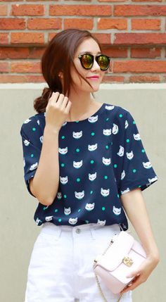 Fashiontroy Hipster & indie short sleeves crew neck navy blue cat printed chiffon T-shirt