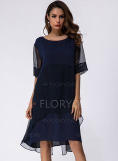 Dresses - $57.91 - Polyester Solid Half Sleeve Knee-Length Casual Dresses (1955140412)