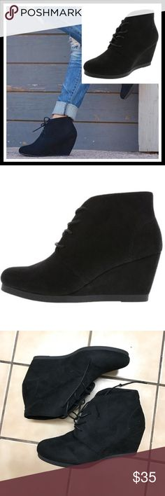 """Wenley Black Wedge Booties Get a step up with the Wenley Desert Wedge from American Eagle. It features a durable upper, round toe, laces for good fit, soft lining, padded insole, 2 3/4"""" wrapped wedge, and a sturdy outsole. BRAND NEW NEVER USED. American Eagle by Payless Shoes Ankle Boots & Booties"""