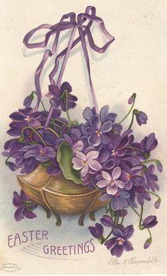 Vintage Easter Greetings postcard with violets Sandy Weinstein Easter Art, Easter Crafts, Vintage Easter, Vintage Holiday, Vintage Greeting Cards, Vintage Postcards, Etiquette Vintage, Easter Flowers, Easter Parade