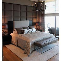 Passando para desejar uma linda noite de sono com esse quarto lindo. Adorei o detalhe da cabeceira almofadada.