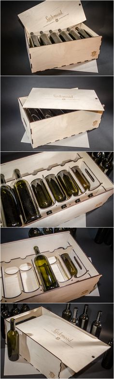 Wine Gifts - 12 bottle Wooden Wine Gift Box, laser personalized, (without wine)