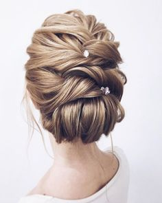 Wedding Hairstyles Updo Whether a classic chignon, textured updo or a chic wedding updo with a beautiful details. These wedding updos are perfect for any bride looking for a unique wedding hairstyles. - Hair by Lena Bogucharskaya Make up Romantic Bridal Updos, Romantic Wedding Hair, Wedding Updo, Chic Wedding, Prom Updo, Trendy Wedding, Wedding Hair And Makeup, Wedding Nails, Bridal Makeup