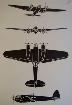 British Royal Air Force RAF Second World War Two WW2 WWII Aeroplane Airplane Aircraft Recognition Poster Silhouette Diagram Fosh & Cross Ltd.