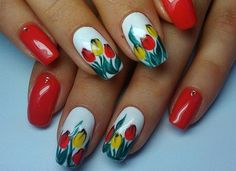 Nails Stuff - the largest selection of various nail art and accessories at affordable prices Tulip Nails, Daisy Nails, Flower Nails, Red Nails, Hair And Nails, Easter Nail Designs, Flower Nail Designs, Nail Designs Spring, Toe Nail Designs