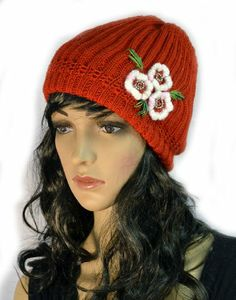 Red Hand Knit Crochet Slouchy Winter Beanie Cap with Flower Trio Accent KENGDO,http://www.amazon.com/dp/B00I827GE0/ref=cm_sw_r_pi_dp_r9K.sb1ZG6G4VKDH