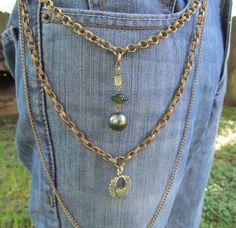 Jean Jewelry Jean Chains Charms Winged Heart  by stevenssteampunk, $35.00