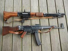 The WW2 German FG42 (top) and MP44 (bottom). The FG42 was decades ahead of its…