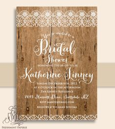 Printable invitations - rustic invitation - lace invitation - bridal shower invitation - Freshmint Paperie