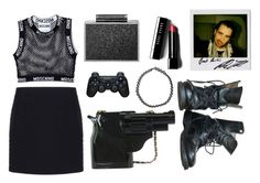 """""""Just decided to try out this set style!"""" by glam-socialist ❤ liked on Polyvore featuring Moschino, Balenciaga, BeckSöndergaard, Bobbi Brown Cosmetics, Boohoo and Sony"""