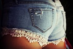 Cute booty shorts with lace at bottom! Probably an easy DIY project!