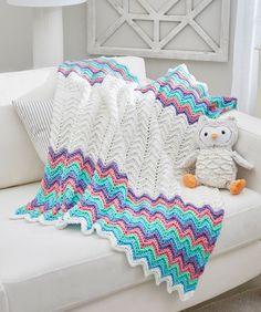 Rippling Rickrack Rainbow Blanket