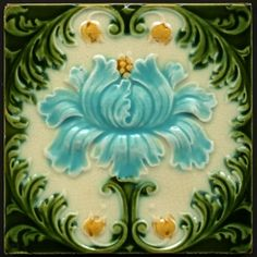 Mirabellicious ♥: The Tile Files: Majolica. Art Nouveau Floral Majolica Tile, manufactured in the U.K. by Corn Bros, circa 1900. Available to purchase from Tile Heaven.