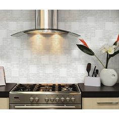 "Instant Mosaic 12"" x 12"" Peel-and-Stick White Glass Tile (6 Sq. Ft. Total) 