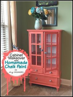 Cabinet Makeover with Homemade Chalk Paint ~ http://maryorganizes.com/2015/04/my-cabinet-makeover-in-coral-how-to-do-homemade-chalk-paint/