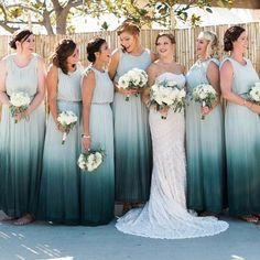 Black to white ombre chiffon one shoulder bridesmaid dresses. Gradient black to white chiffon floor length A-line bridesmaid gowns. Ombre Bridesmaid Dresses, One Shoulder Bridesmaid Dresses, Wedding Bridesmaids, Cheap Wedding Dress, Wedding Dresses, Dresser, Photos Of Dresses, Formal Wedding, Wedding Ideas