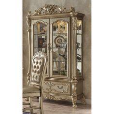 Acme Furniture Dresden Curio Cabinet - Gold Patina - ACM944