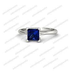 925 Sterling Silver Princess Cut Blue Sapphire Engagement Ring For Women's  #adorablejewelry #EngagementRing #AnySpecialDay