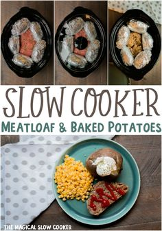Slow Cooker Meatloaf and Baked Potatoes Slow Cooker Meatloaf, Crock Pot Slow Cooker, Slow Cooker Recipes, Gourmet Recipes, Crockpot Recipes, Cooking Recipes, Skillet Recipes, Pizza Recipes, Baked Potato Recipes