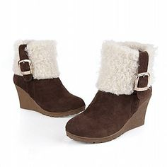 Carol Shoes Fashion Womens Buckle Coldweather Warm Lamb Wool Wedge Heel Snow Boots 55 Brown >>> Want to know more, click on the image.(This is an Amazon affiliate link)