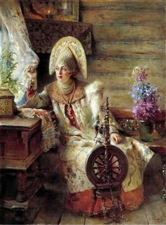 "Konstantin Makovsky painting. ""Boyaryshnya the window"".  Aristocratic Russian woman in her kokoshnik"