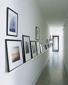 A hallway transformation apartment therapy long hallway, hallway art, ent. Hallway Shelf, Hallway Art, Long Hallway, Entry Hallway, Frame Shelf, Wall Shelves, Modern Hallway, Upstairs Hallway, Wall Ledge