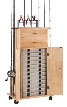 18 Rod Tackle Storage Cabinet, Rod Rack, Fishing Gear