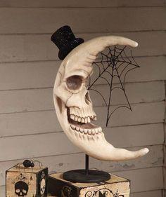bad ass skull moon decoration (looks Halloween - y) ❤ Looks Halloween, Halloween Moon, Fete Halloween, Halloween Kostüm, Halloween Projects, Holidays Halloween, Vintage Halloween, Halloween Design, Halloween Backdrop