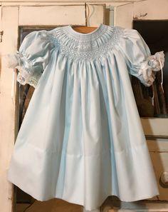12 mo./Size 1 Baby Girl Smocked Bishop Dress by SeamsbyLeslie