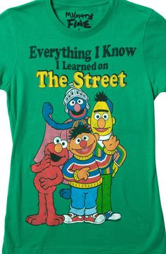 Browse Sesame Street t-shirts like the Oscar the Grouch t-shirt and I Was Raised on the Street tees. Browse other merchandise, including Sesame Street hoodie sweatshirts, plush stuffed animals, costumes, Sesame Street hats and toys. Cool Shirts, T Shirts, Thug Life Shirts, Sesame Street Birthday, Funny Tees, Funny Humor, Cool Kids, Cute Outfits, Emo Outfits