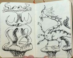 Coupla weirdoes #doodle #sketchbook #monsters #creatures #illustration #impendingmayhem (at Diesel Cafe)