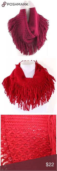 """B93 Dark Red Knit Fringe Infinity Scarf ‼️ PRICE FIRM UNLESS BUNDLED WITH OTHER ITEMS FROM MY CLOSET ‼️    Really soft & beautiful.  100% acrylic. Dress up any outfit day or night. Please check my closet for many more scarves and clothing items.  Length 25""""  Width 19"""" Accessories Scarves & Wraps"""