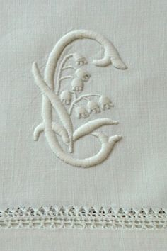Amazing flowers, monogram, hem/pulled thread embroidery [?] on antique Irish linen