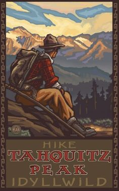 Continental Divide Trail Colorado Mountain Hiker Man Giclee Travel Art Poster by Artist Paul A. Lanquist x 18 inch) Art Print for Bedroom, Living Room, Kitchen, Family and Dorm Room Wall Décor Sequoia National Park, Grand Teton National Park, Tarzan, Oregon Mountains, National Park Posters, Big Sky Country, Art Graphique, Vintage Travel Posters, Poster Vintage