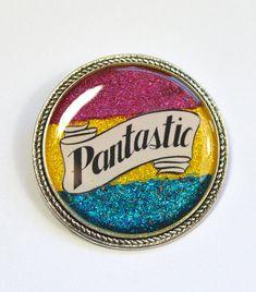 Pantastic Pansexual Pride Pan LGBT Queer Glitter Resin Brooch
