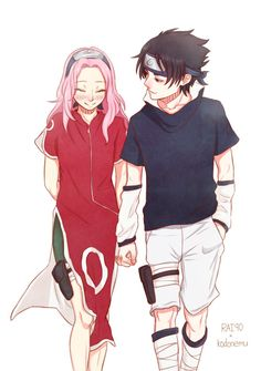 SasuSaku.  Maybe if things had gone a bit differently in their childhoods, this is how it would have started. #naruto