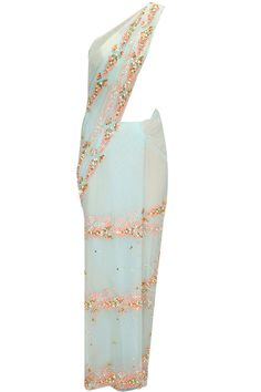 Powder blue 3D flowers pre stitched sari with gold embroidered blouse available only at Pernia's Pop-Up Shop.