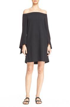 TIBI Off The Shoulder Flutter Sleeve Dress. #tibi #cloth #