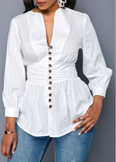 Stylish Tops For Girls, Trendy Tops, Trendy Fashion Tops, Trendy Tops For Women Casual Tops For Women, Blouses For Women, Blouse Styles, Blouse Designs, High Waisted Black Jeans, Looks Plus Size, African Print Fashion, Beautiful Blouses, White Long Sleeve