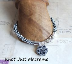 Black and White with Gray Spiral Micro Macrame by KnotJustMacrame