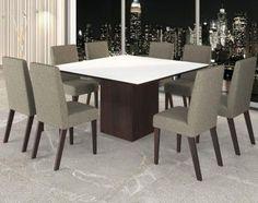 Conjunto De Mesa Para Sala De Jantar City Vidro Branco Com 8 Cadeiras Nogueira/Arábia - Mesa de Jantar | Magazine Luiza