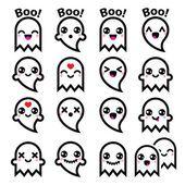 Каваи милый призрак для Хэллоуин иконки набор Векторная Графика
