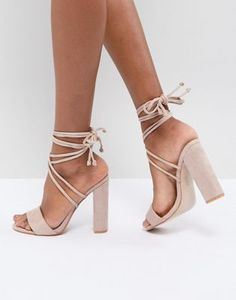 be4f8f17752e Public Desire Suzu Tie Up Block Heeled Sandals Block Heels Outfit