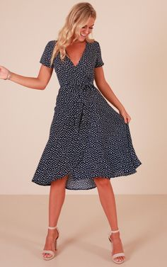 Showpo One Last Song dress in navy polka dot - 14 (XL) Casual Dresses Dressy Dresses, Simple Dresses, Cute Dresses, Vintage Dresses, Dresses For Work, Midi Dress With Sleeves, Dress Up, Nursing Friendly Dress, Gingham Dress