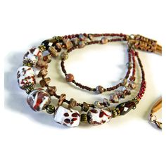 Brown Bohemian multistrand Lampwork necklace Leopardskin Jasper... ❤ liked on Polyvore featuring jewelry, necklaces, bridal jewelry, wedding bridal jewelry, bohemian jewelry, bridal jewellery and boho necklace