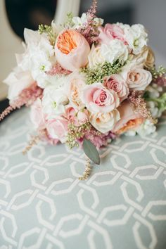 Blush, coral and green wedding bouquet - Romantic Lakefront Wedding from Shannon Valente Weddings - Calgary Bride