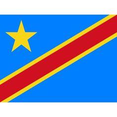 Tafelvlaggen Democratische Republiek Congo 10x15 cm | Congolese tafelvlag De huidige vlag van Congo-Kinshasa werd aangenomen op 18 februari 2006, dezelfde dag dat het huidige Congolese wapen in gebruik werd genomen. De vlag bestaat uit een lichtblauw veld met daarop in de linkerbovenhoek een gele ster. Van de hoek onderaan de hijszijde tot de rechterbovenhoek loopt een diagonale rode band met aan weerszijden een smallere gele band