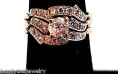jewelry: 14K White Gold and Diamond Three Ring Bridal Set #Jewelry - 14K White Gold and Diamond Three Ring Bridal Set...