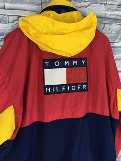 83fbe01d1b2313 TOMMY HILFIGER Jacket XLarge Vintage 90 s Sportswear Tommy Colorblock  Hoodie Tommy Athletic Trainer Multicolor Jacket Parka Size XL